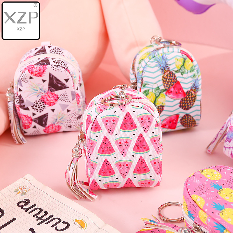 XZP Cartoon Women Girls Mini Coin Bag Cat Fruit Print Coin Purse Keys Card Holder Wallet Money Bags Earphone Package Kids Gifts