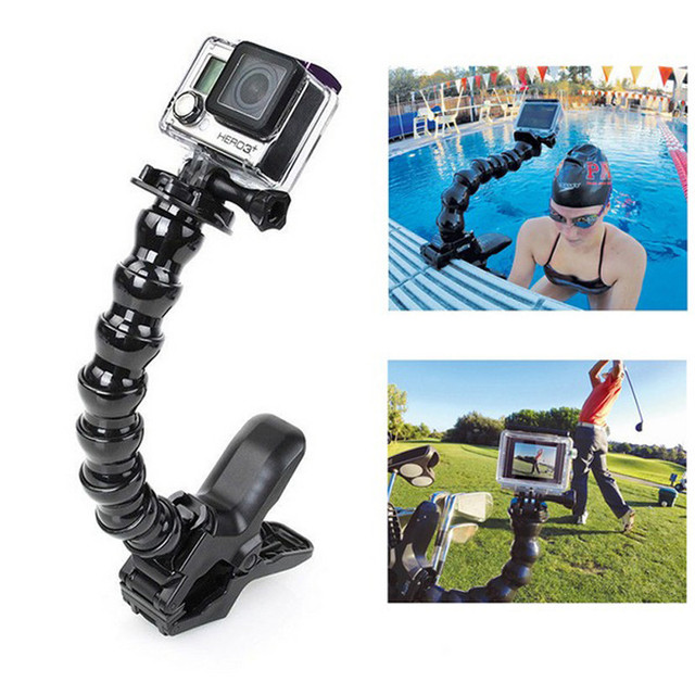 GoPro аксессуары 5 совместное Регулируемая Шеи Ручка + Flex-Зажим для GoPro Hero 3 1/2/3/4 sj4000/5000/6000
