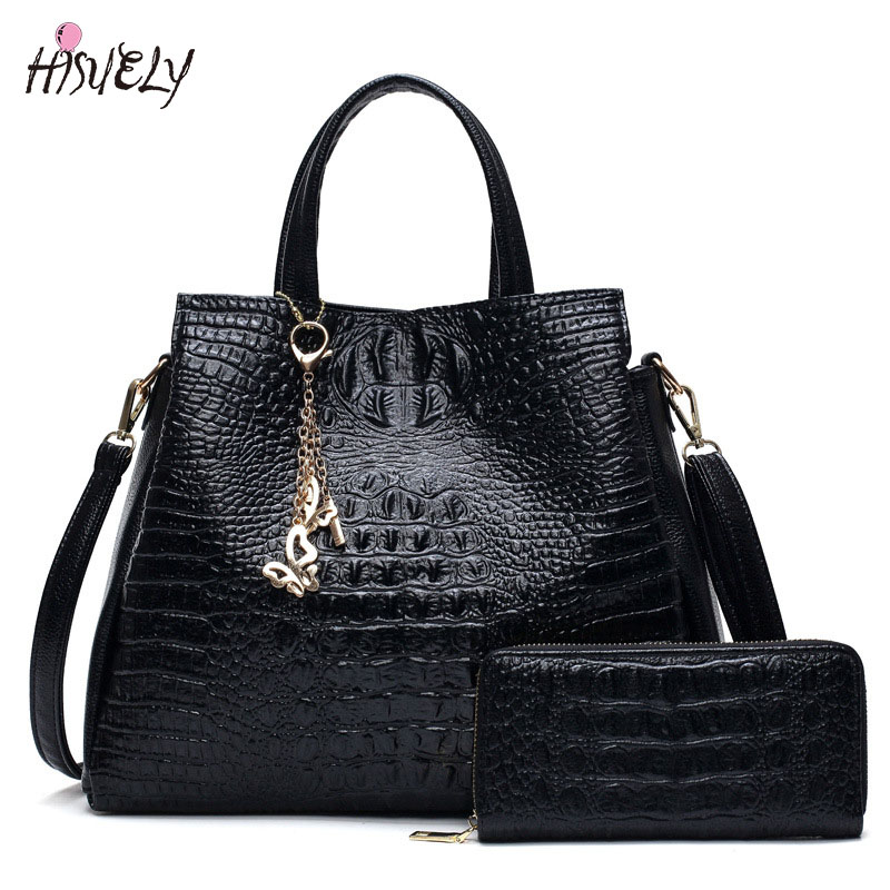 2 Set Fashion PU Leather Shoulder Bags 2017 Women Bag High Quality Ladies Handbags Tote Bag Purses Designer large Bolsos Mujer rusoonnic women handbag set designer ladies composite bag pu leather shoulder bags alligator tote bolsos mujer mochila
