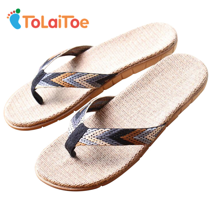 ToLaiToe Mænds Home Floor Slipper New Linen Sommer Cool Glidende Tøfler Silent Sweat Mænd / Kvinder Flower Beach Sandals Flip Flops