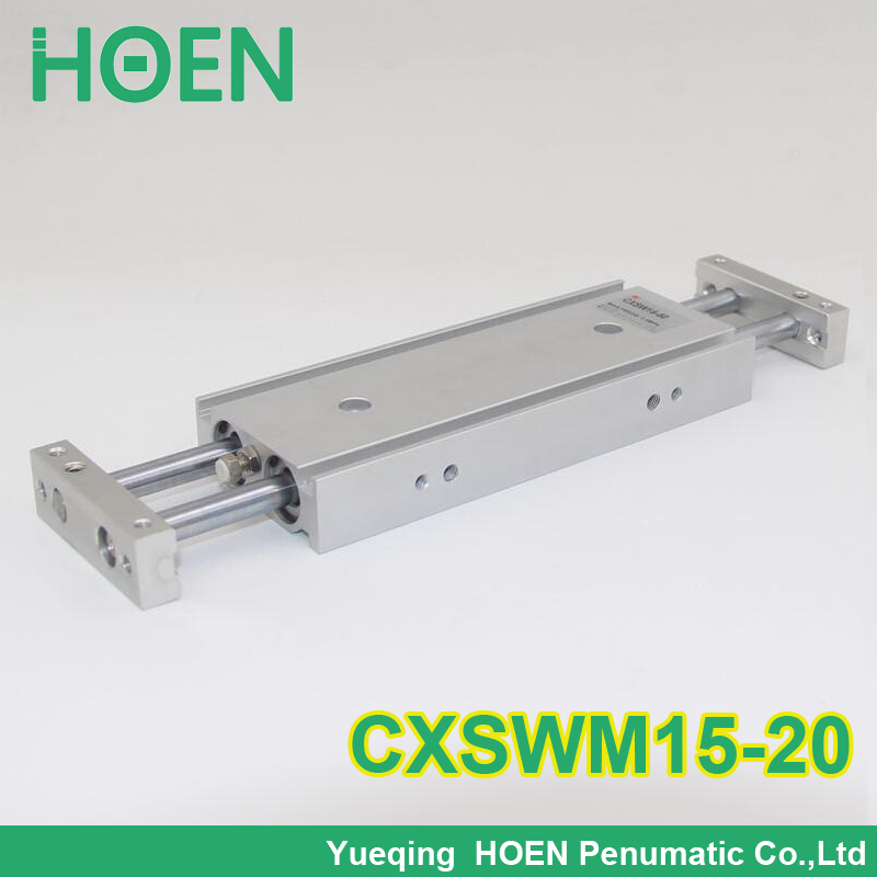 CXSM CXSJ CXSW series CXSWM15-20 15mm bore 20mm stroke dual rod cylinder slide bearing double rod pneumatic cylinder CXSW15-20 cxsm20 20 high quality double acting dual rod air pneumatic cylinder cxsm 20 20 20mm bore 20mm stroke with slide bearing