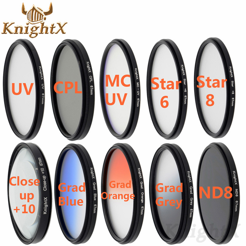 KnightX 52mm 58mm 67 MM 77 MM Stella colore UV CPL nd VICINO UP lens Filterfor Nikon d3100 d5000 canon eos 700d 500d 550d SLR1200d
