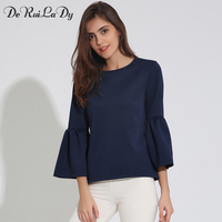 DeRuiLaDy Women Autumn Elegant Flare Sleeve Shirt O Neck Blouse Three Quarter Sleeve Blouses Black White