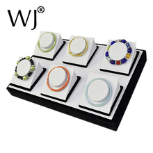 Original Wood Jewelry Display Showcase for Bracelet Bangle Anklet Presentation Stand Holders Rack Fit 6pcs on Tray Box Organizer