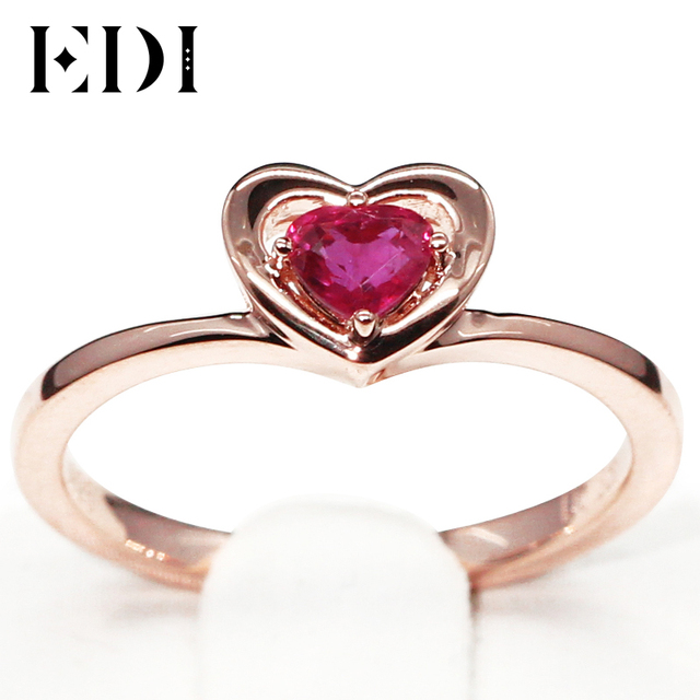 EDI Genuine 0.3ct Natural Ruby 585 14K Rose Gold Solitaire Engagement Ring  Fine Jewelry Heart