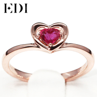 EDI Genuine 0.3ct Natural Ruby 585 14K Rose Gold Solitaire Engagement Ring Fine Jewelry Heart Shape Gemstone Valentine Gift
