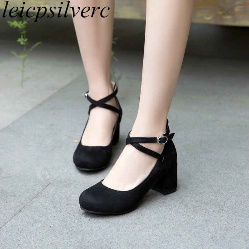 Women Pumps Mary Janes Shoe High Heel Flock Round Toe Buckle 2018 Spring Autumn Sexy New Fashion Casual Office Black Gray Pink
