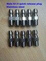 10 pçs/lote aço inoxidável G1/4 quick release adaptador com rosca macho para lavador de carros arma mangueira