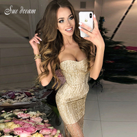 2018 Sexy Bodycon Bandage Dress Sleeveless Strapless Chic Celebrity Party Gold Dresses New Spring Women Sequined