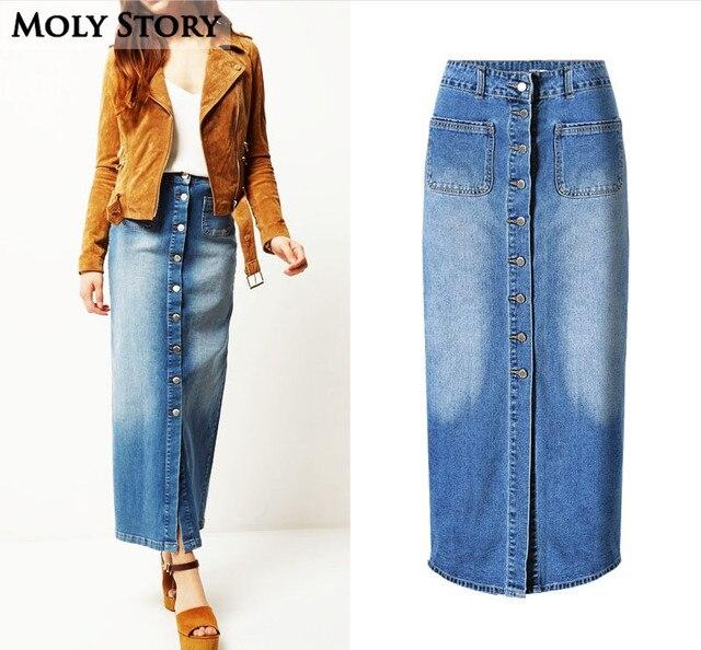 2db84a4f67f173 € 18.95 9% de réduction Jupe Jeans rétro grande taille Jupe droite longue  taille haute jupes en jean Jupe Femme dans Jupes de Mode Femme et ...