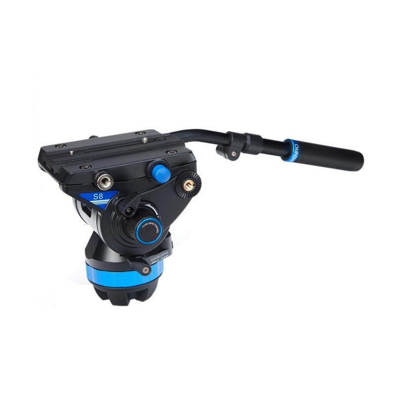 Nouveau Benro S8 hydraulique PTZ caméra photographie top spécial pour l'observation des oiseaux huile bol siège PTZ QR13 plaque de dégagement rapide