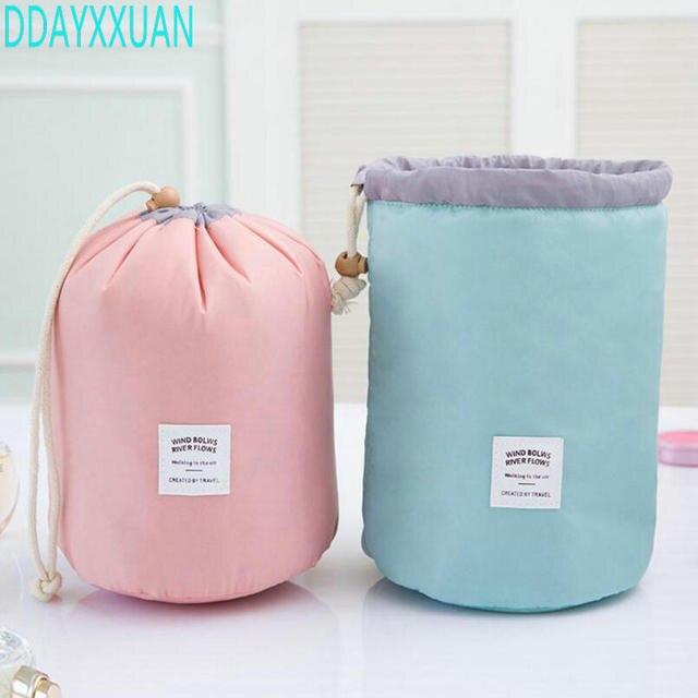 529b32fc31 Fashion Barrel Shaped Travel Cosmetic Bag Make up Bag Drawstring Elegant  Drum Wash Kit Bags Makeup Organizer Storage Bag
