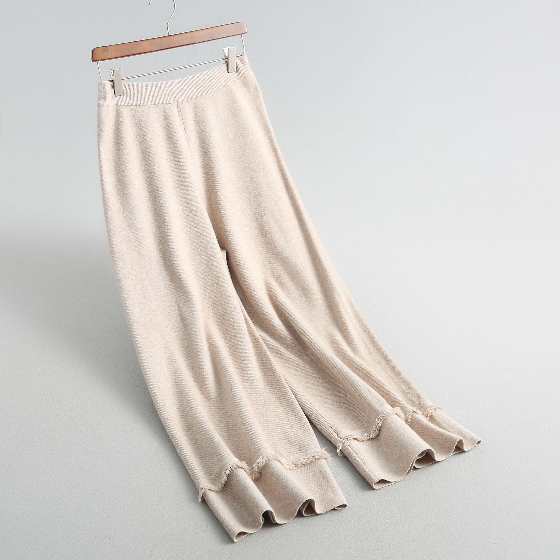 Nuevo coral De gris Del Knitting Beige Moda Mujeres Borla Pierna amarillo Mucho Ancha Inviernos negro 2018 Anchos Pantalones Fondo Punto Otoño Rojo XwURnq