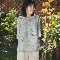 SCUWLINEN 2019 Women Summer Blouse Chinese Style Catkin Print Plate Buttons Three Quarter Plus Size Loose Ramie Shirt KimonoP044