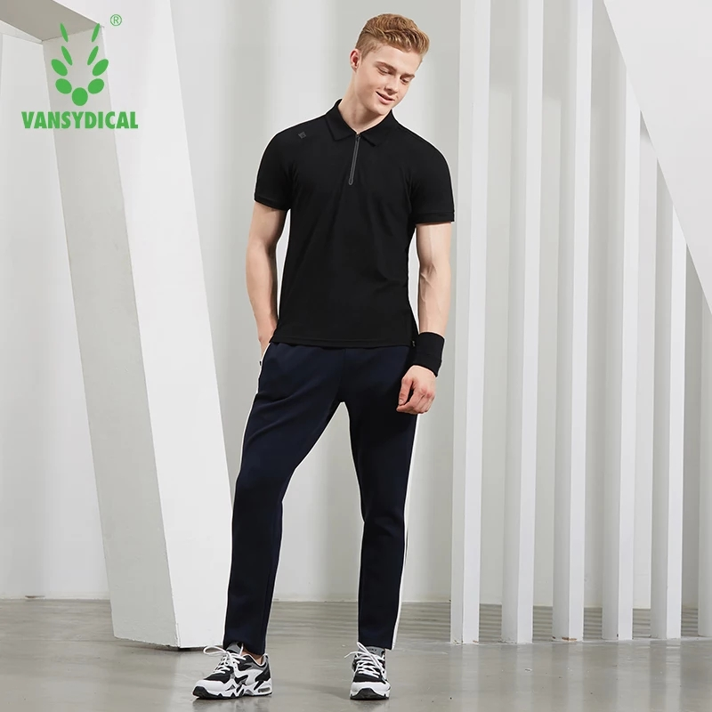 SPT Vansydical Mens Sports Polos Shirts Tops Cotton Breathable Running T-Shirts Fitness Workout Short Sleeve Sportswear Jerseys