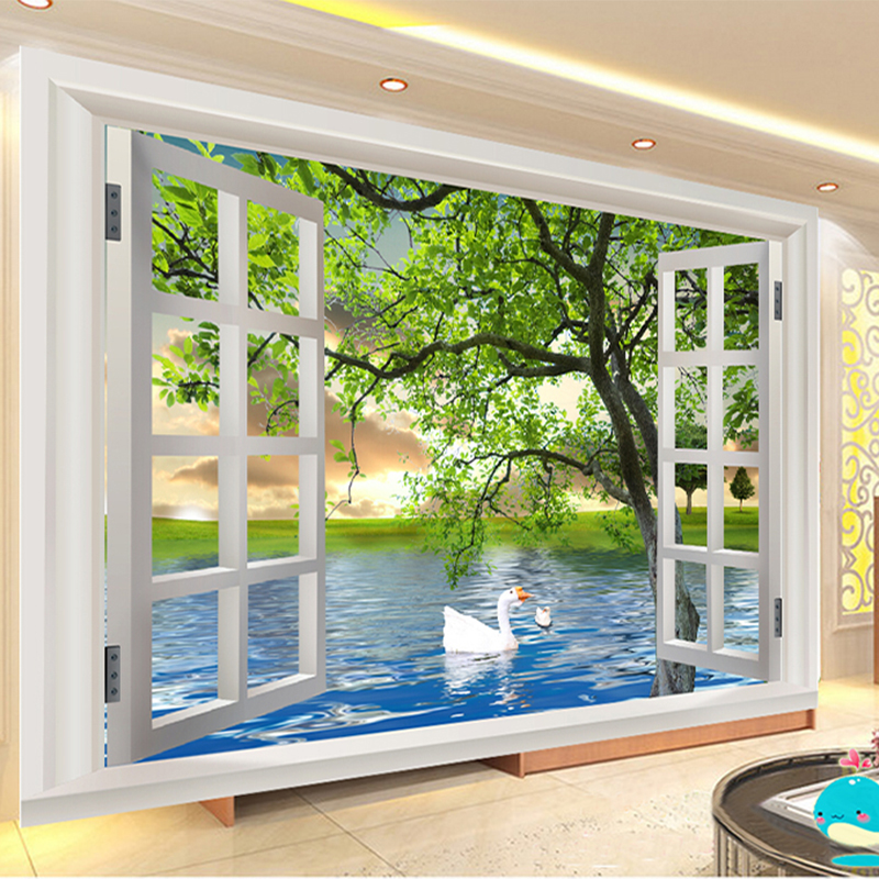 Photo Wallpaper Modern Simple Outside Window Green Tree River Swan Nature Landscape 3D Stereo Mural Living Room Papel De Parede world outside the window paper