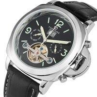 Creative Men's Watch Luminous Hands Design Automatic Timepiece Mechanical Men Watches Tourbillon Display Genuine Leather Clock