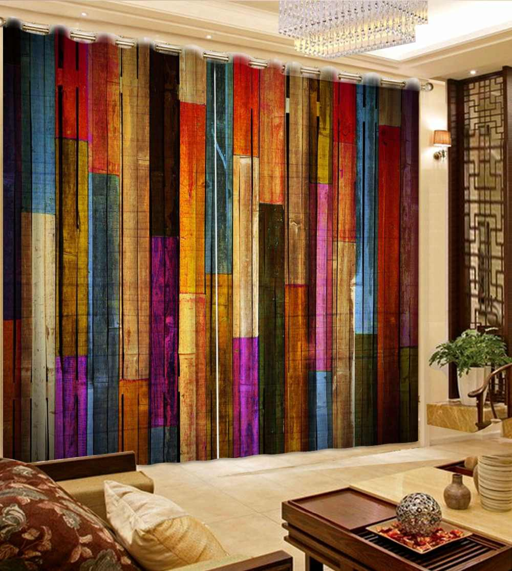 3D Curtain Fashion Customized Colorful Wooden Wall Curtains For Bedroom Custom Any Size Curtain Blackout Curtain Living Room