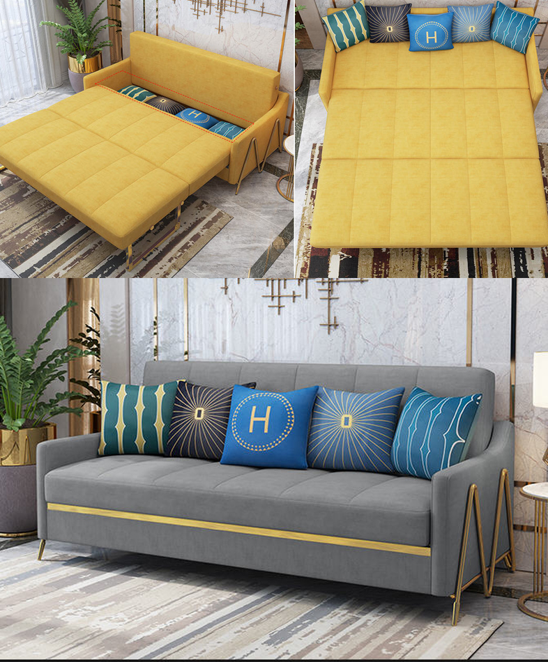 Velvet Hanf Linen Hemp Fabric Sectional Sofas  Living Room Sofa Bed Alon Couch Puff Asiento Muebles De Sala Canape Sofa Cama