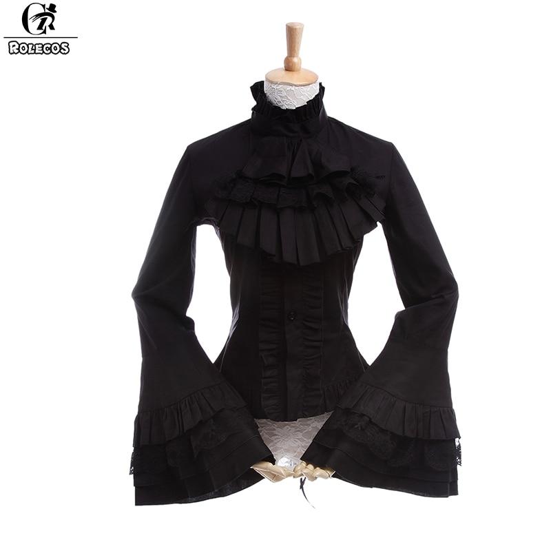 ROLECOS Gothic Style Women Lolita Blouse Long Sleeve Lace Shirts Vintage Renaissance Victorian Medieval Women Lolita Blouse