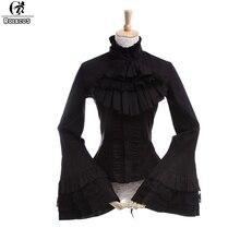 ROLECOS estilo gótico mujer blusa Lolita de manga larga de encaje camisas Vintage renacimiento victoriano Medieval mujer blusa Lolita
