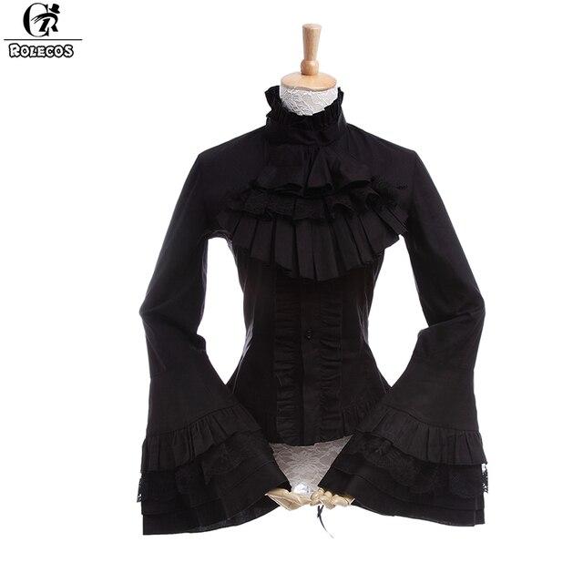 89a8640c2c3 ROLECOS Gothic Style Women Lolita Blouse Long Sleeve Lace Shirts Vintage  Renaissance Victorian Medieval Women Lolita Blouse