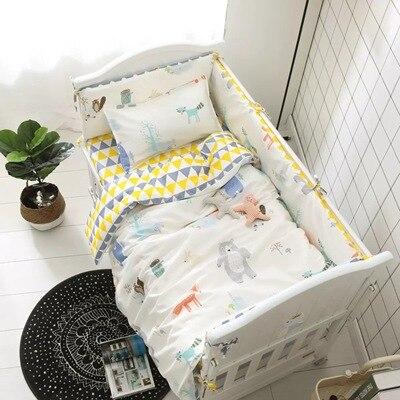 Cartoon 6-9pcs Cot Bedding Set For Baby/Learning Quilt/baby Gift/nursing Set Kit De Berço Whole Set