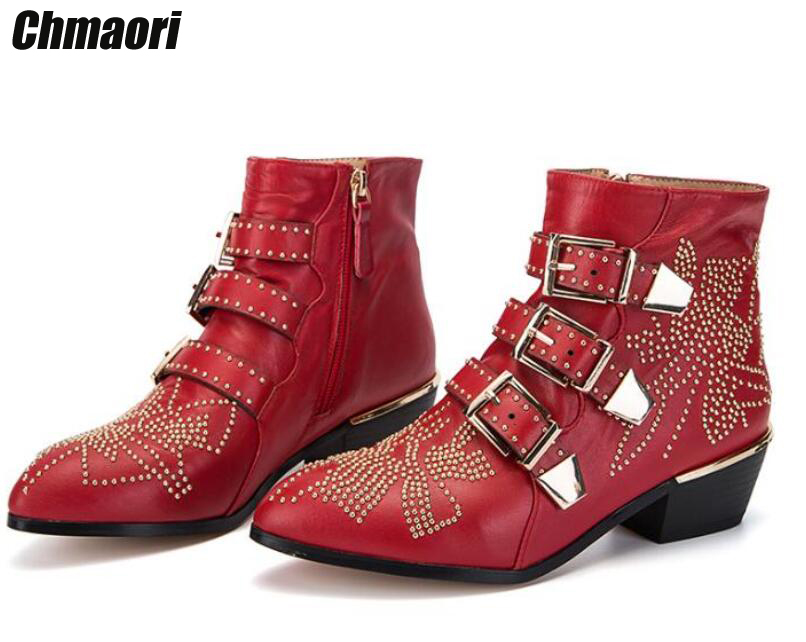 Women New Fashion Pointed Toe Gold Spike Buckle Straps Thick Heel Ankle Boots Studded Decorated Motorcycle Boots Riding Boots