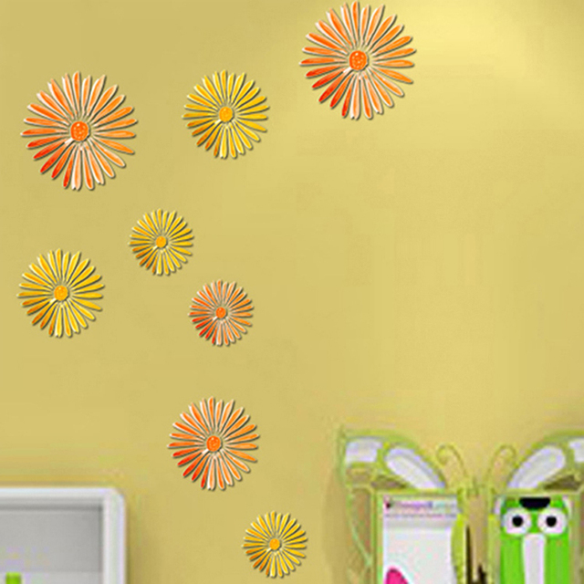 16Pcs DIY 3D Sunflower Removable Wall Sticker Home Decor Room Decals ...