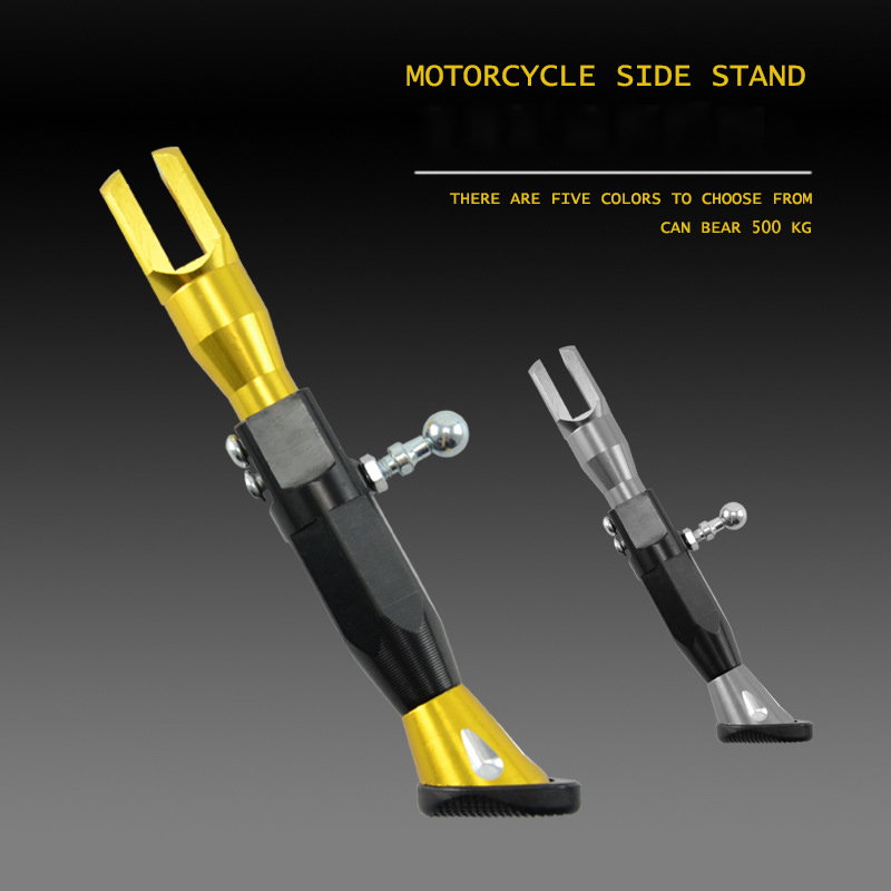 Motorcycle Electric Car Modification Accessories Adjustable Side Support Height Aluminum Side Stand Single Side Support