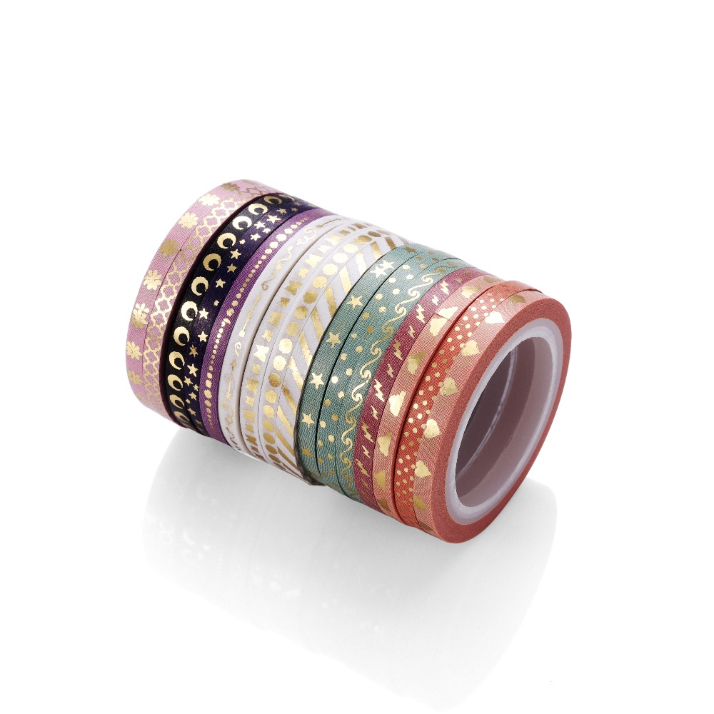 AAGU 16 Patterns 3mm*5m Skinny Foil Washi Tape Excellent Quality Decorative Paper Tape Star Dot  Washi Masking Tape For Planner