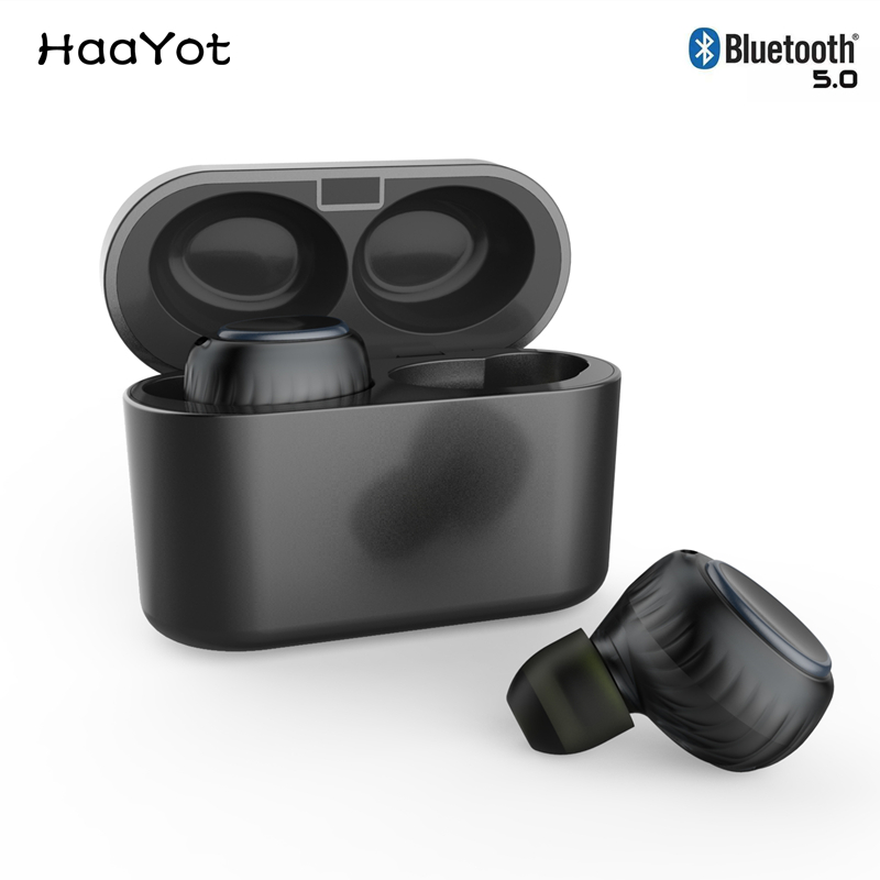 HAAYOT Bluetooth 5 0 Earbuds True Wireless Earphone Bass Sport Headphone With Noise Cancelling Handsfree Mic