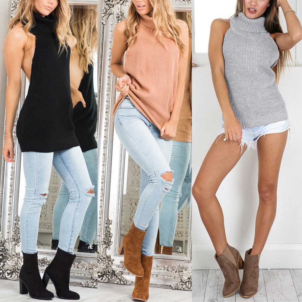 2018 Backless Sleeveless Women Sweaters and Pullovers Turtleneck Knitted Regular Sweater Cardigan Women Pullover Tops