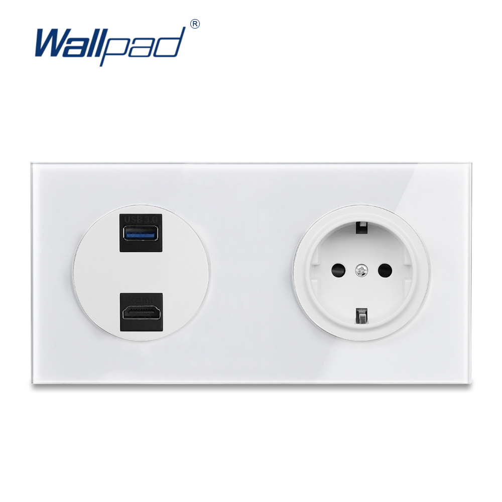 Hdmi Outlet Wallpad L6 White Glass Hdmi Usb 3 Outlet With Eu Wall Electrical Power Socket 172 86mm