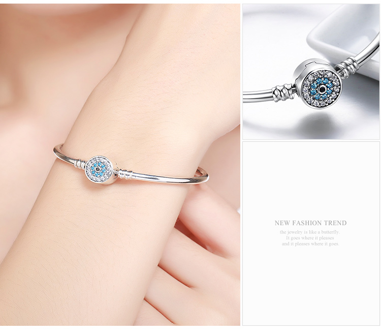 Pulseira 925 Sterling Silver Bracelet Femme Snowflake Heart Blue Eye Femme Snake Chain Bracelets & Bangles Women Jewelry 19