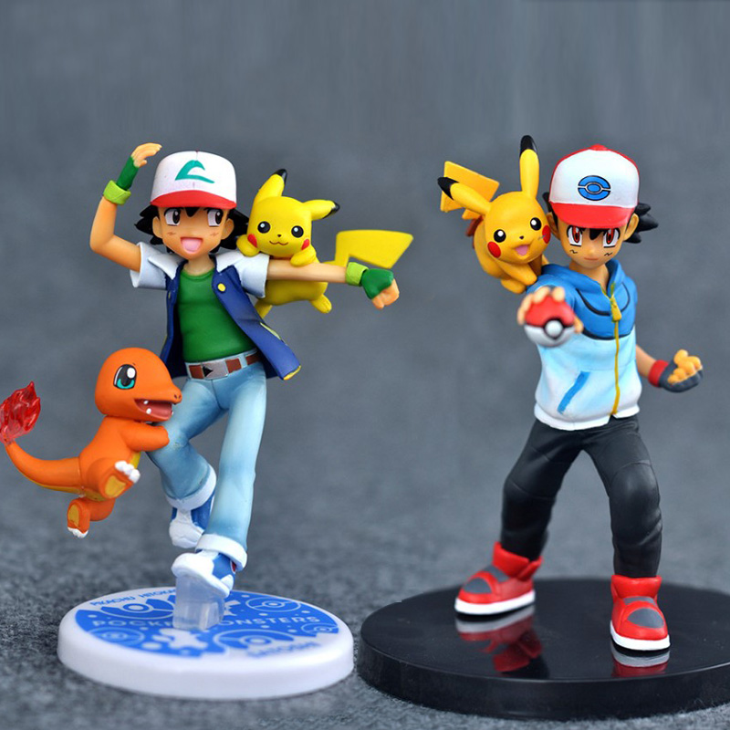 Ash Ketchum & Pikachu Charmander May Torchic Misty Psyduck Gary Oak eevee cartoon action toy figures model toys pokemones
