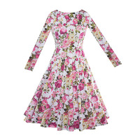 Sisjuly 2017 Autumn O Neck Collar Female Party Dress Pink Vintage Green Dresses 1950s 60s Full