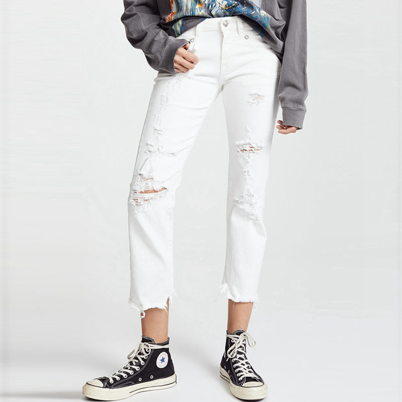 2019 New Women White Ripped Jeans Cotton Stretch Straight Hole Pants