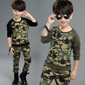 Crianças Conjuntos de Roupas Casuais Camuflagem Meninos Primavera Terno do Esporte das Crianças Longo-sleeved Two-piece Trajes de Treinamento Militar