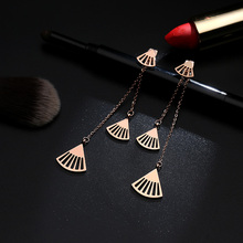 YUN RUO Fashion Rose Gold Color Fan Tassels Stud Earring for Woman Gift Prevent Allergy 316L Stainless Steel Jewelry Never Fade