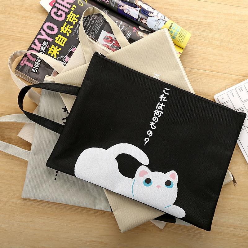 1 Pcs Cute Cartoon Cat Zipper Document Bag Kawaii Student Oxford Cloth Storage Bag Supplies Escolar Portable File Papelaria