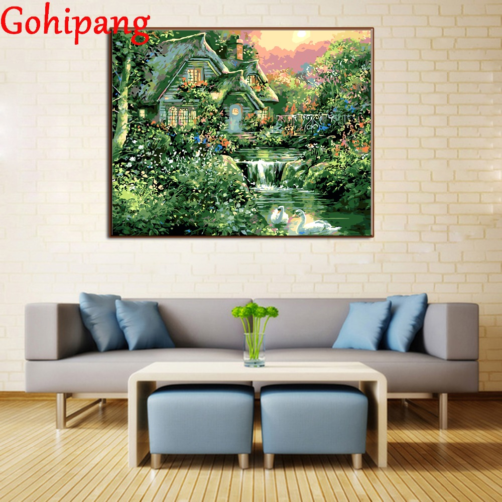 Digital Oil Painting By Numbers Landscape Wall Decor Animal Goose River Scenery Picture On Canvas Hand Paint Drawing