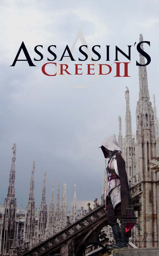 [Stock]Game Assassin's Creed II Discovery Figure Ezio Grey suit Cosplay costume Full set in stock Free shipping NEW