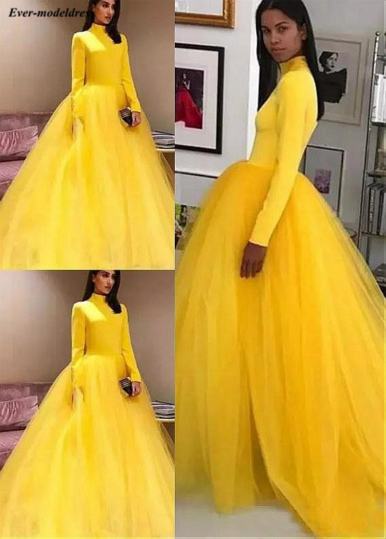 Modest Yellow   Prom     Dresses   Long Sleeves 2019 High Neck Zipper Back Sweep Train Ball Gown Party   Dresses   Vestidos De Festa Cheap
