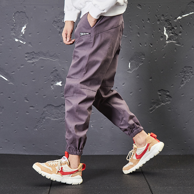 Japanese Style Vintage Fashion Men Jeans Casual Jogger Pants Loose Fit Ankle Banded Cargo Pants Streetwear Hip Hop Tapered Pants