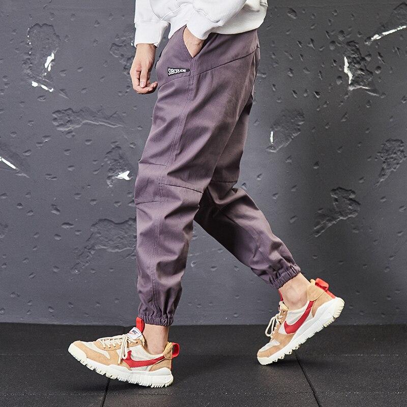 Stile giapponese Dell'annata di Modo Degli Uomini Dei Jeans di Casual Jogger Pantaloni Loose Fit Caviglia Fasciato Pantaloni Cargo Streetwear Hip Hop Pantaloni Affusolati