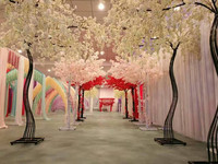 2018 White fake cherry tree Wedding Props Road leads Simulation Cherry Flower with metal Arch Frame For Party Decoration