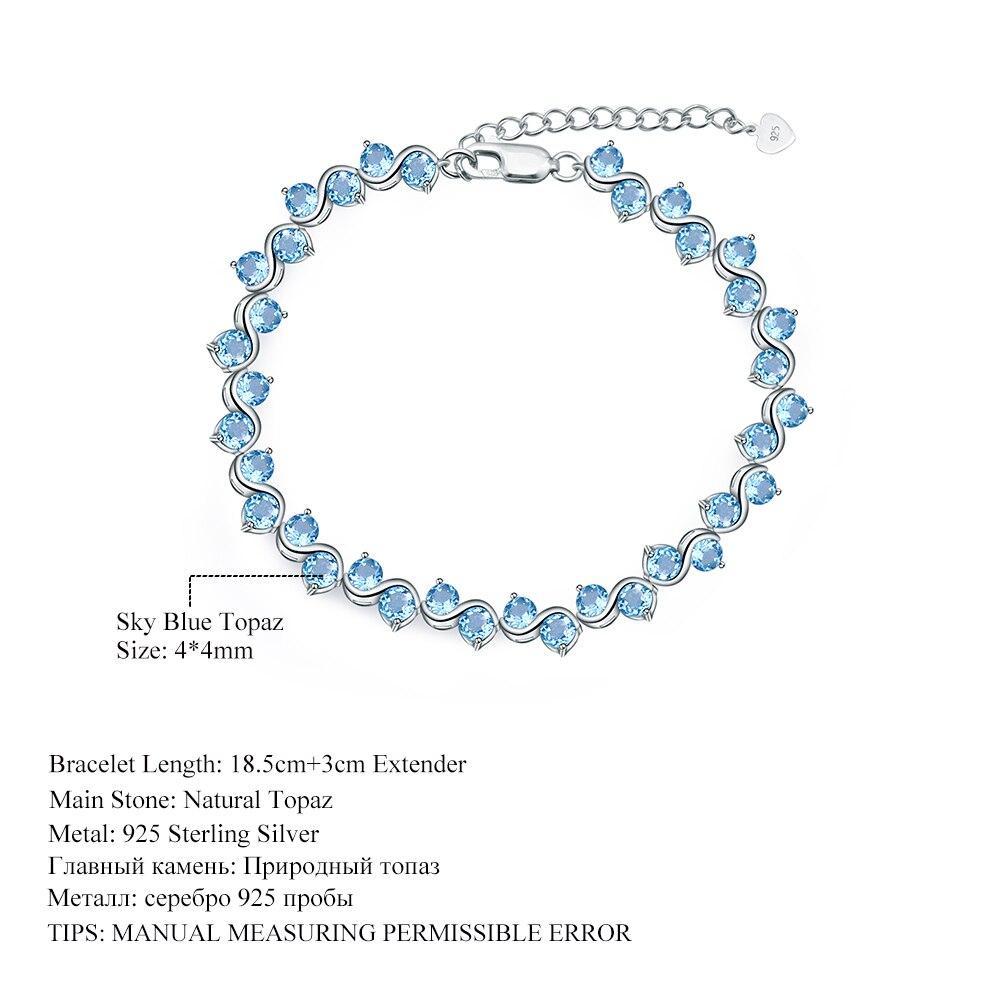 GEM'S BALLET Swiss Blue Topaz Genuine 925 sterling silver Natural Gemstones Chain Link Bracelet Luxury Fine Jewelry For Woman