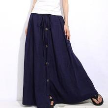 Womail Women skirt Summer Casual A-Line Elastic Waist Casual Button Flare Full Length Long Maxi Skirt Daily2019 dropship f9