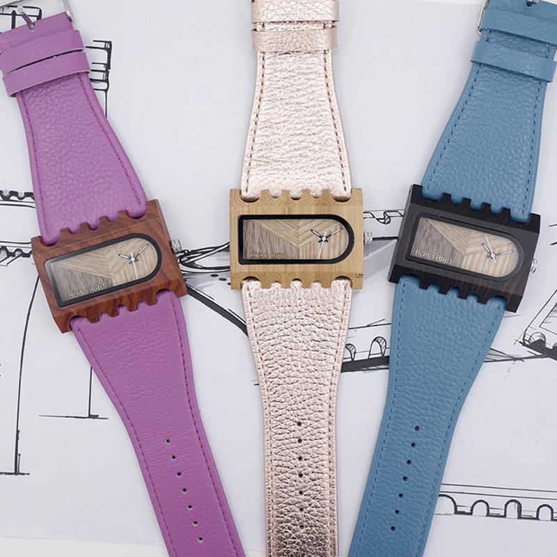 BOBO BIRD New Designer Wooden Watches Women with PU Leather Strap Quartz Watch (2)
